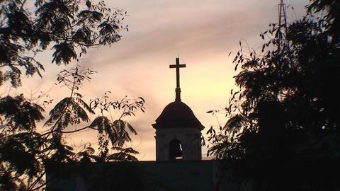 Cuba Sancti Spiritus Church at sunset Stock Video Footage