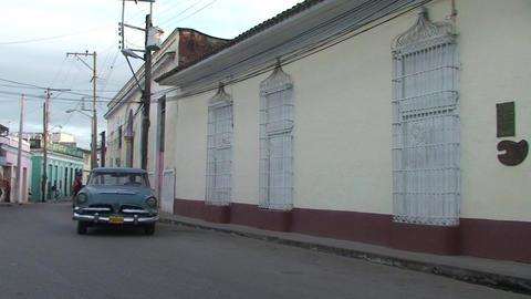 Cuba Sancti Spiritus Oldtmer passing by Footage