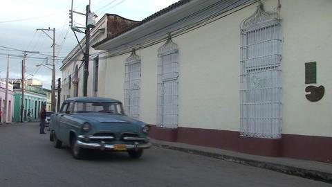 Cuba Sancti Spiritus Oldtmer passing by Stock Video Footage