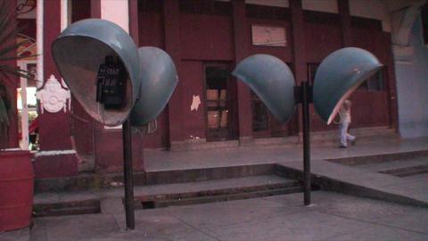 Cuba Sancti Spiritus typical phones on the street Footage