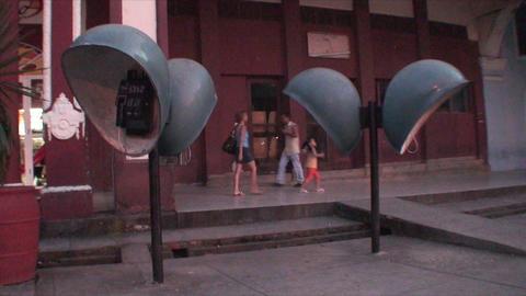 Cuba Sancti Spiritus typical phones on the street Stock Video Footage