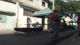 Streetview pig on a spit Stock Video Footage