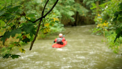 Stream with kayak Stock Video Footage