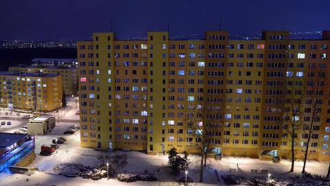Night prefabricated house Stock Video Footage
