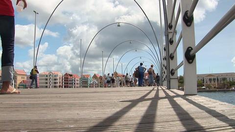 People on pontoon bridge Stock Video Footage