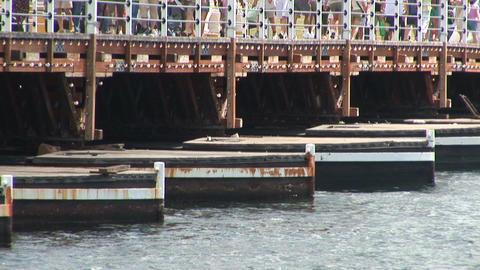 Part of a pontoon bridge Stock Video Footage