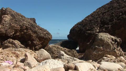 Rough coast on Curacao Footage