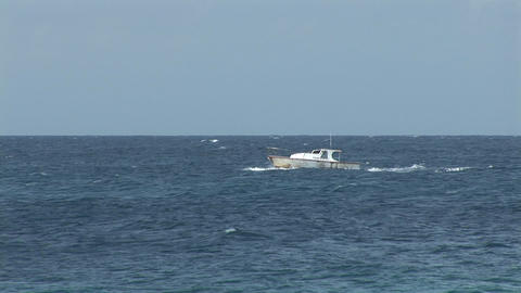 Small boat on ocean Footage