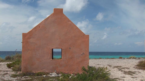 Slave hut and ocean Stock Video Footage