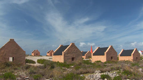 Slave huts on Bonaire Stock Video Footage