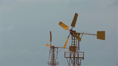 Yellow windmills Stock Video Footage