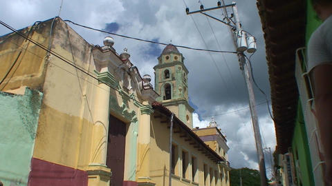 Trinidad Colourfull street colonial houses church Stock Video Footage