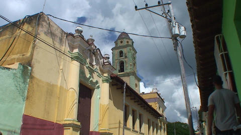Trinidad Colourfull street colonial houses church Footage