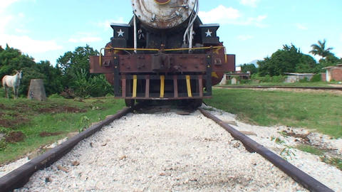 Trinidad old steam train tilt up Footage
