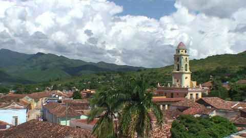 Trinidad Overview of the City mountains plaza Stock Video Footage