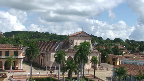Trinidad Overview of the City mountains plaza 3 Stock Video Footage