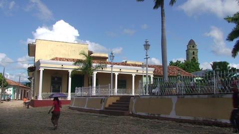 Trinidad Plaza Mayor panshot Stock Video Footage