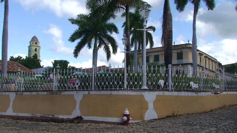 Trinidad Plaza Mayor panshot Stock Video Footage