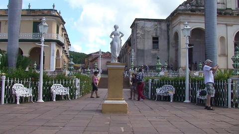 Trinidad Plaza Mayor statue Footage