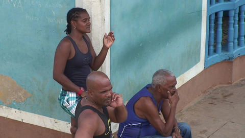 Trinidad Streetview Cuban people relaxing Footage