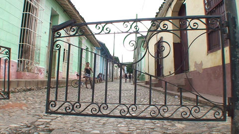 Trinidad Streetview entrance gate to City Stock Video Footage