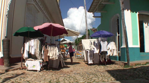 Trinidad Streetview market Stock Video Footage
