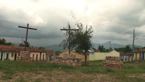 Trinidad Streetview three crosses Stock Video Footage