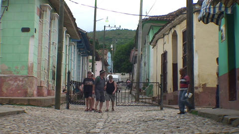 Trinidad Streetview walking group of tourists Stock Video Footage