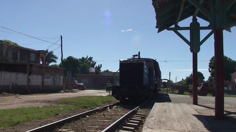 Trinidad Trainstation old train arrives Footage