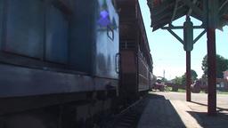Trinidad Trainstation old train arrives Stock Video Footage