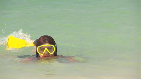 Girl snorkeling Footage