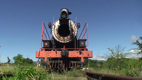 Valle de los Ingenios train old steamtrain front Stock Video Footage