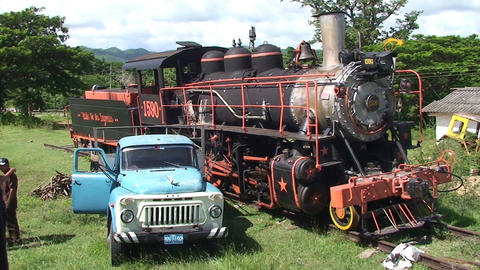 Valle de los Ingenios train old steamtrain oldtime Stock Video Footage