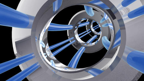 Tunnel tube metal A 01p HD Animation
