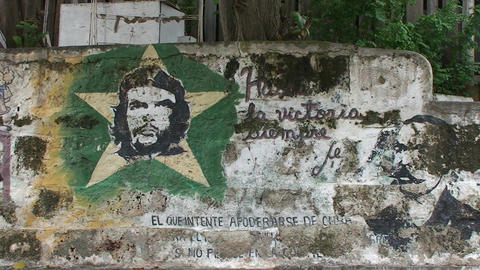 Cuba Che Guevara drawing on wall Stock Video Footage