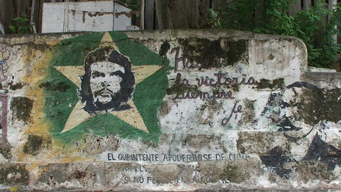 Cuba Che Guevara drawing on wall Footage