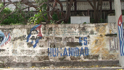Cuba Freedom drawing on wall Stock Video Footage