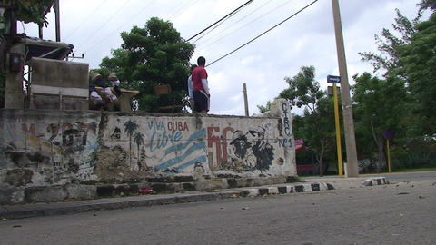 Cuba Freedom drawing on wall 3 Stock Video Footage