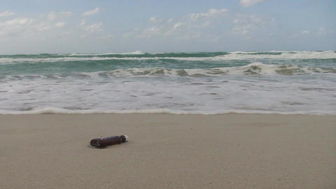 Cuba Message in a bottle at the sea 3 Stock Video Footage