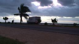 Cuba Sunrise street with cars 2 Stock Video Footage
