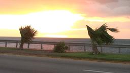 Cuba Sunrise street with cars 4 Stock Video Footage