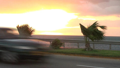 Cuba Sunrise street with cars 4 Footage