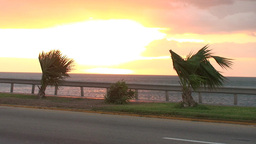 Cuba Sunrise street with cars 4 Stock Video Footage
