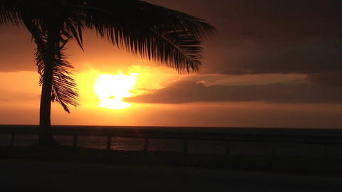 Cuba Sunrise street with cars 6 Stock Video Footage