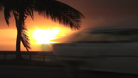 Cuba Sunrise street with cars 6 Stock Video Footage