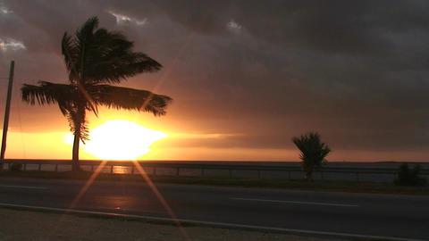 Cuba Sunrise street with cars 8 Stock Video Footage