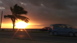 Cuba Sunrise street with cars 8 Stock Video Footage