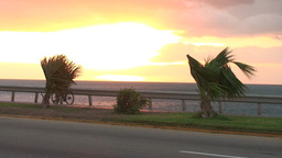 Cuba Sunrise street with cars and bicycle Stock Video Footage