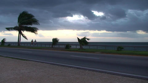 Cuba Sunrise street with cars and runners 2 Stock Video Footage
