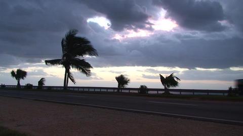 Cuba Sunrise street with old schoolbus Stock Video Footage